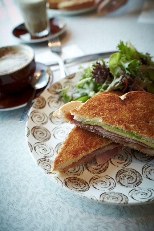 Sandwhich. Coffee. Café Derailler. Food.