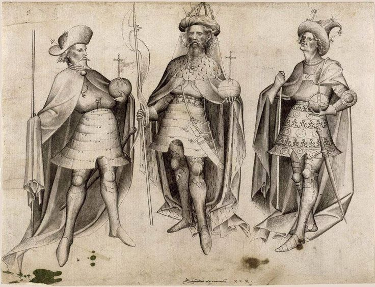 Giovanni VIII Paleologo in armatura sulla sinistra, accanto ai re d'Ungheria e di Danimarca, 1424 / Armoured John VIII Palaeologs on the left, next to the kings of Hungary and Denmark, 1424