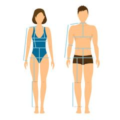 Woman and Man Body Front  Back for Measurement. Vector