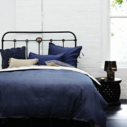AURA Maison Indigo bedlinen. With the unforced style of well worn denim, Maison is the coolest guy in the room. He's unmistakably masculine, but not afraid to embrace the feminine in the softness of his touch and the relaxed, worn Indigo of his earthy tones. Definitely a keeper.