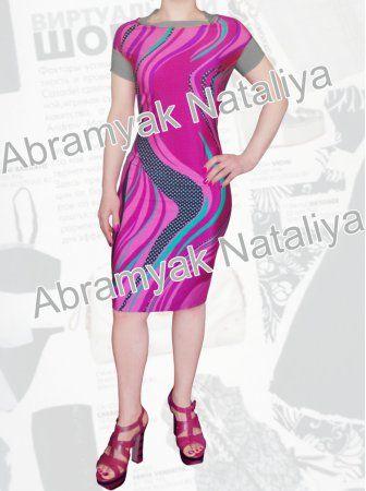35$ Летнее платье для полных девушек из трикотажа холодок с приспущенными плечами и эффектным малиновым принтом Артикул 923,р50-64