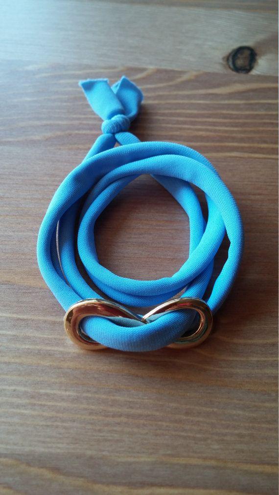 bracelet light blue from Ligres cord by toocharmy on Etsy