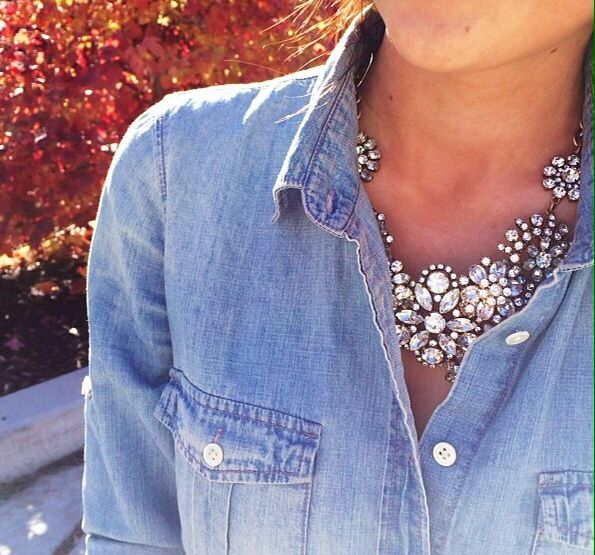 Chambray and necklace