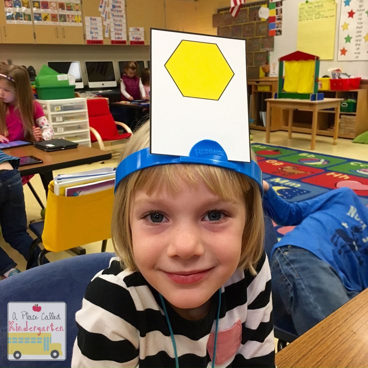 "Shape Identification Game (from A Place Called Kindergarten; using piece from game, ""Hedbanz"")"