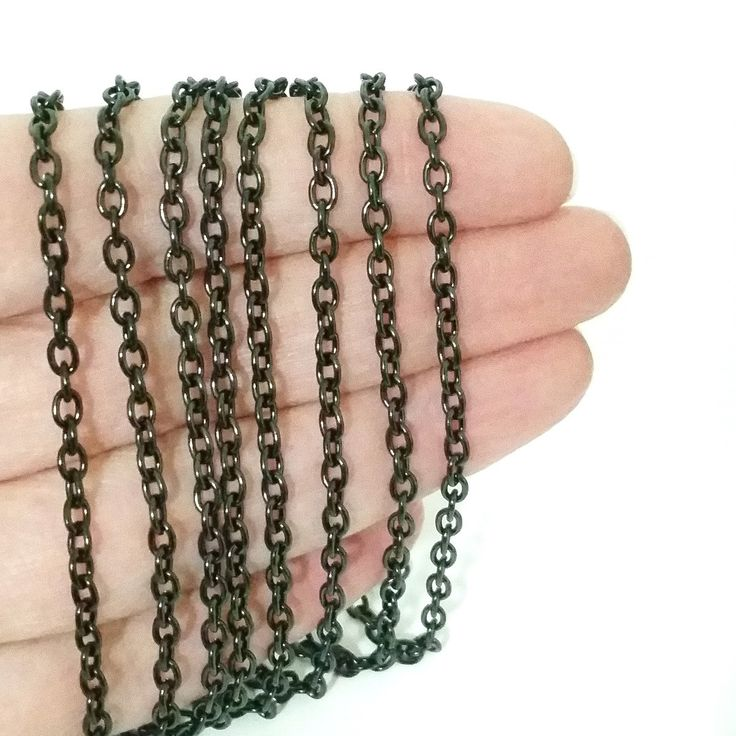 Black Stainless Steel Chain, 3x4mm Oval Open Links, 20 Feet to 20 Meters on a Spool, #1906 BL