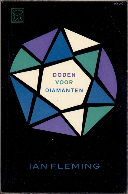 1962; Doden voor Diamanten [Diamonds are Forever] by Ian Fleming. Cover art by Dick Bruna. Uitgegeven als Zwarte Beertjes 462.