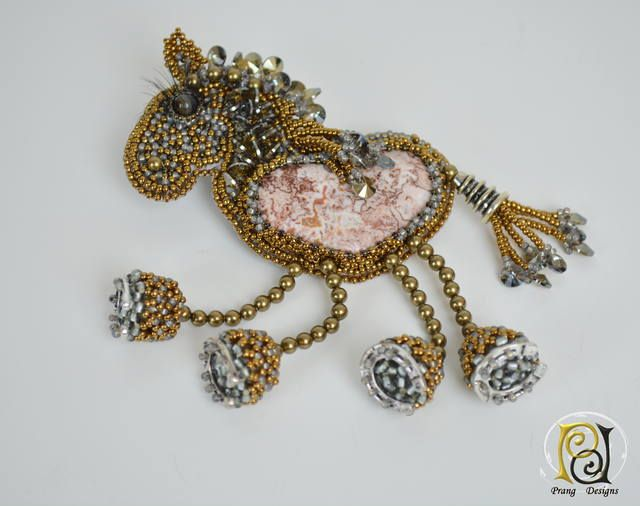 bead embroidery horse brooch necklace by Prang Designs