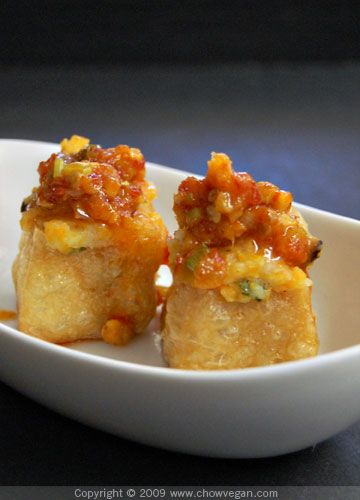 vegan: stuffed tofu puffs with chili garlic sauce...
