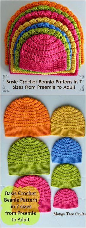 Mango Tree Crafts Crochet Hat Sizes - 17 Free Crochet Baby Beanie Hat Patterns | 101 Crochet