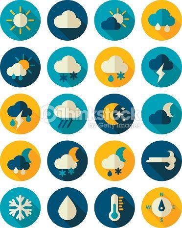 ベクトルアート : Meteorology Weather flat icons set