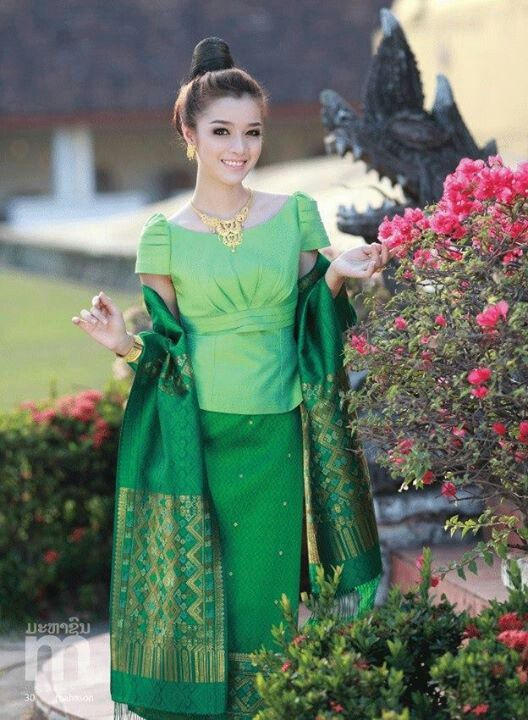 Laos green dress