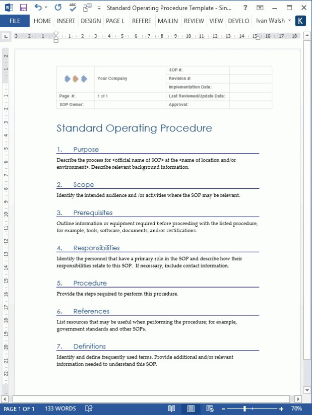 Best 25 standard operating procedure template ideas on for Standard operating guidelines template