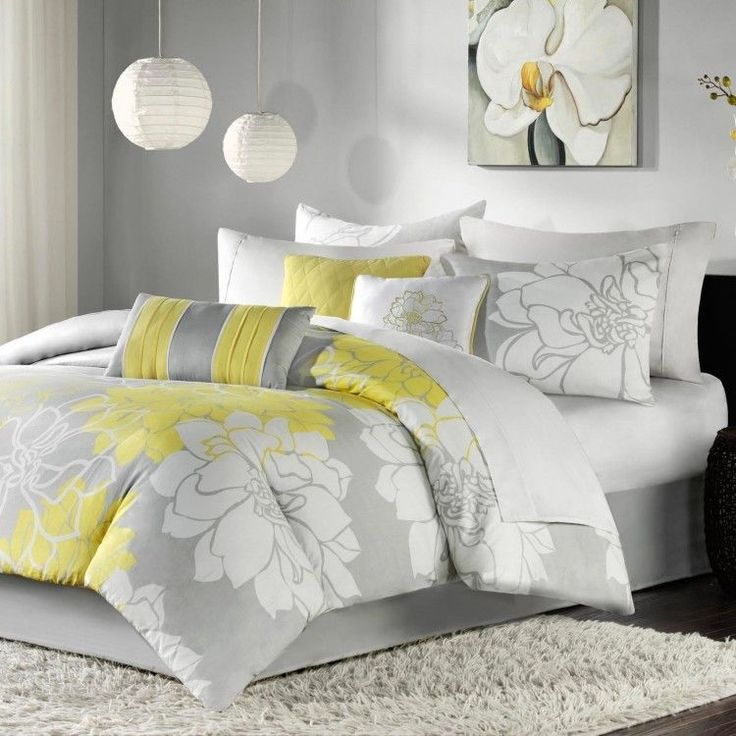 cheerful gray bedding. Brighten up your bedroom with this cheerful Madison Park Brianna  seven piece comforter set This charming floral pairs hues of gray 60 best Bedding Sets images on Pinterest Comforter Bedspread