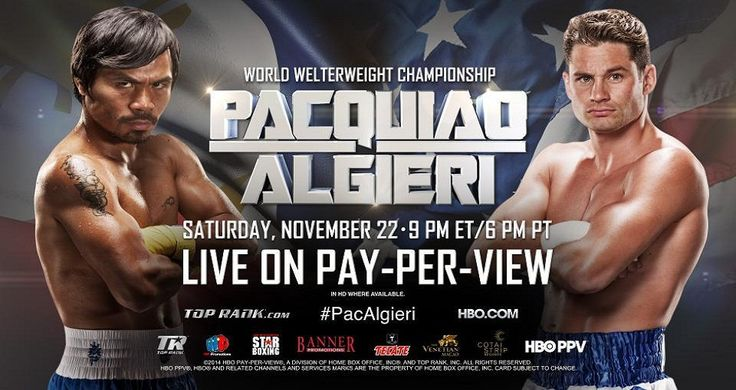 Pacquiao vs Algieri Live Stream. Your best source for Boxing news, results, rumors, fights and rankings from the fan perspective. ... Chris Algieri is no longer the WBO junior welterweight champion, a surprising ... Manny Pacquiao has either gone insane or he's getting funnier. 24/7 Pacquiao vs Algieri Live Stream HBO PPV Fight .  Watch here Live Online>>> http://w.atch.me/GvBIhh
