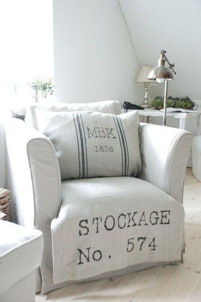 Absolutely gorgeous pure linen slip covers thanks to vintage flour sacks.