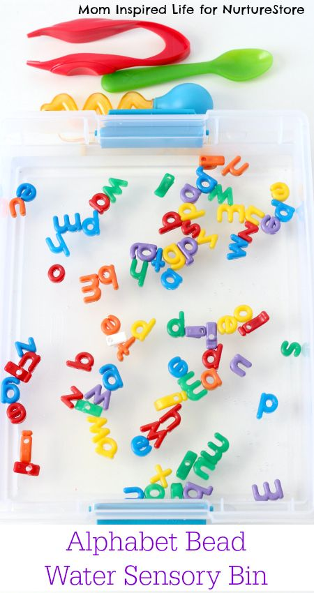 Fun letter activity for preschoolers - this alphabet bead water sensory bin is quick to set up and fun for adding letters to sensory play