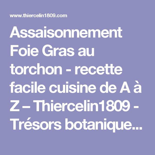 Assaisonnement Foie Gras au torchon - recette facile cuisine de A à Z – Thiercelin1809 - Trésors botaniques pour votre bien-être et le Plaisir du Goût®