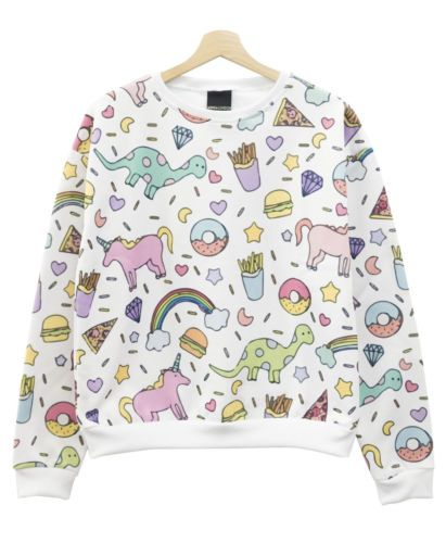 Unicornio-De-Impresion-Sweater-Top-Jumper-Donuts-Pastel-Para-Mujer-Tumblr-Hipster-Kale-Lindo