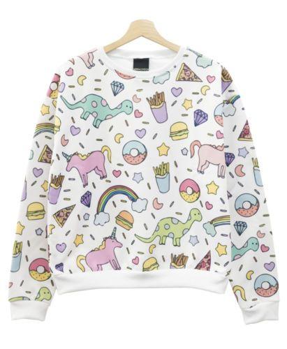 Unicornio-De-Impresion-Sweater-Top-Jumper-Donuts-Pastel-Para-Mujer-Tumblr-Hipster-Kale-Lindo
