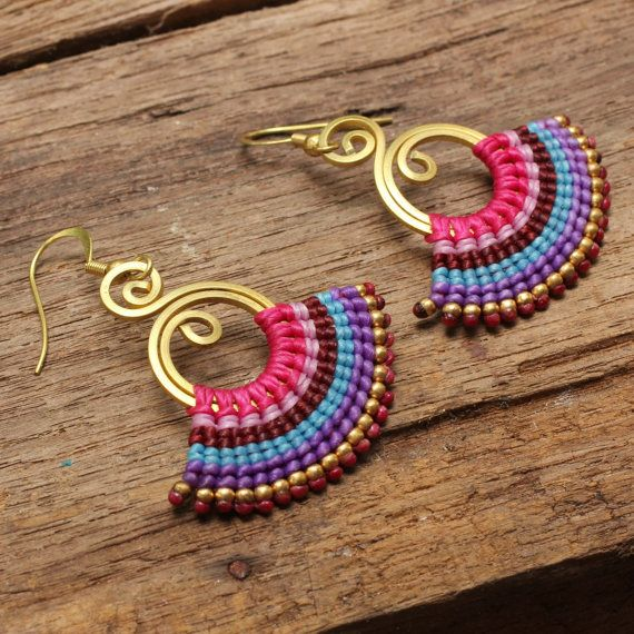 Woven cotton tribal earrings with brass texture by cafeandshiraz, $36.00