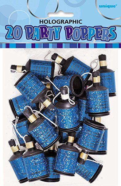 En stor pakke med festlige Party Poppers. Trekk i tråden så skyter de ut med fargerik konfetti.