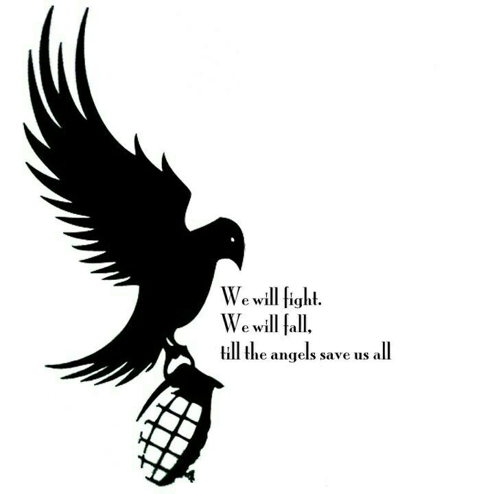 We will fight, we will fall, till the angels save us all, Young, song, lyrics, text, Hollywood Undead, symbol; Hollywood Undead