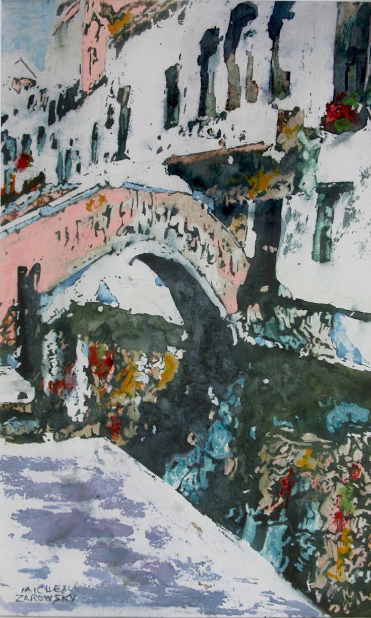 "private bridge over canal dorsoduro venice 14.5"" x 10"" micheal zarowsky / watercolour on arches paper / available $400.00"