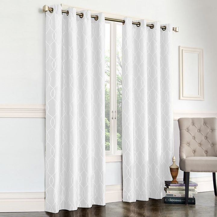 White drapes are a pretty window dressing. Regent Court Gramercy Embroidered Faux-Silk Curtain