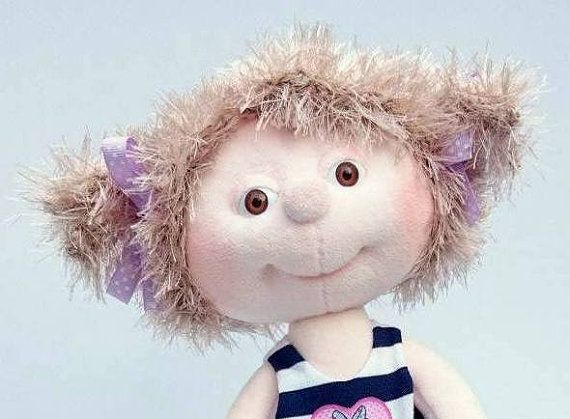 Cute Plush Doll with Bunny Handmade Collectible by SzarvasMici