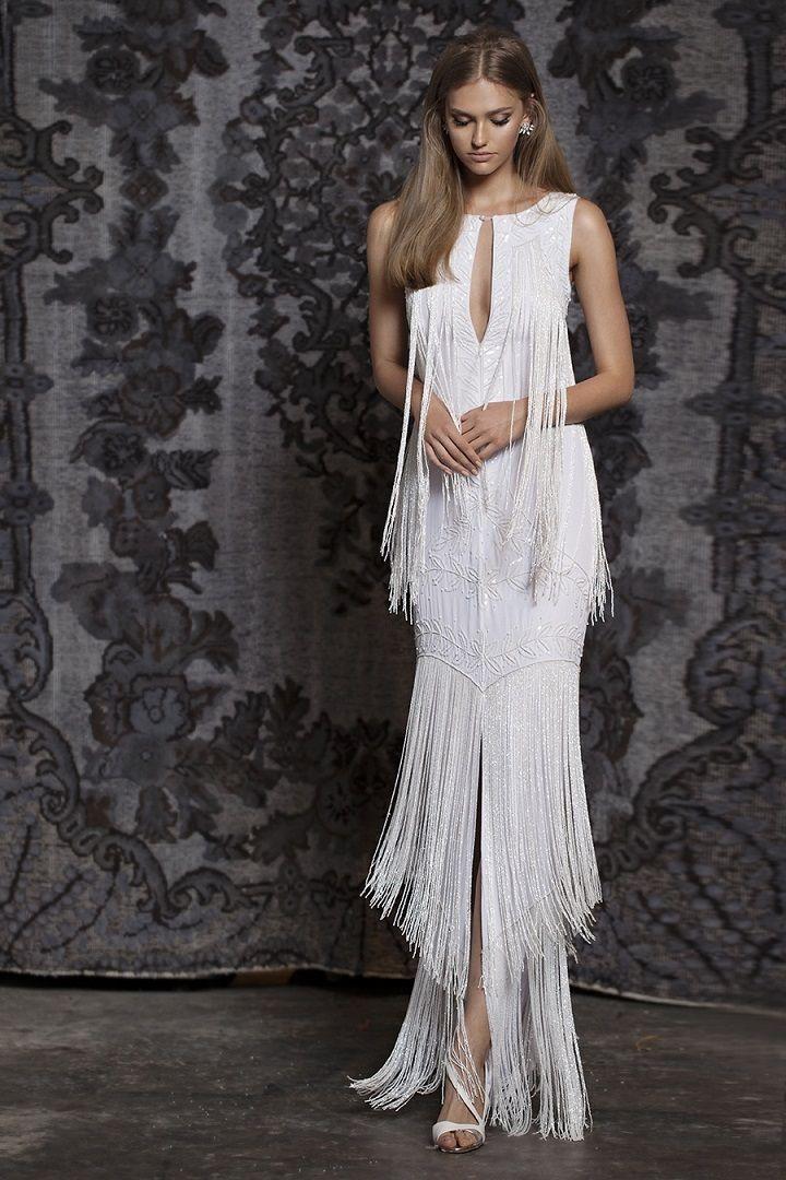 Bohemian Gypsy Wedding Dresses   Bohemian wedding gown, sheath wedding gown, deep v neckline wedding gown
