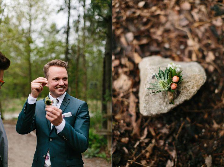 Groom's Style, Boutonniere by Coriander Girl, Kortright Centre Wedding, Toronto Wedding Photographer, Documentary Photography, Jennifer van Son Photography