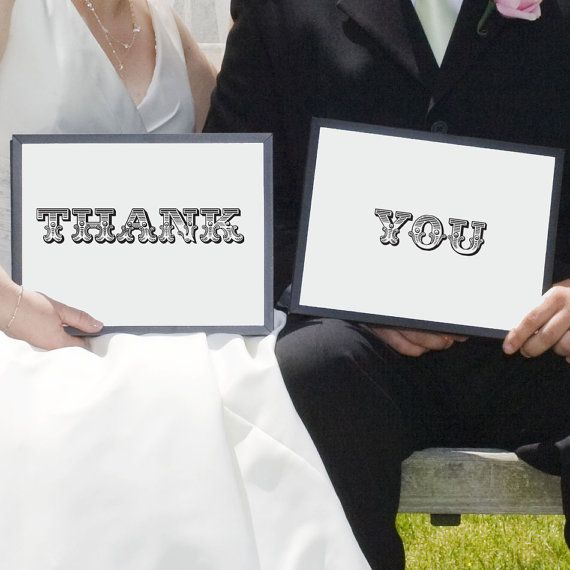 "Wedding Thank You Sign Photo Props ""Thank You"" - 8x10 Prints Ready to Frame"