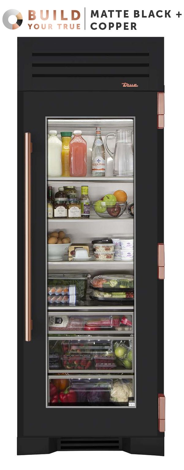 "Matte Black + Copper | Inspired by chefs, refined for the home, and now designed by you, your custom True will both anchor your kitchen and set it apart. | Featured Product: 30"" Refrigerator Column from TRUE"