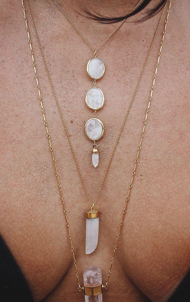 Stone / Necklace / Layered / Looks / Bijoux / Idée / Dorée / Collier / Gold / Or / Fashion / Women
