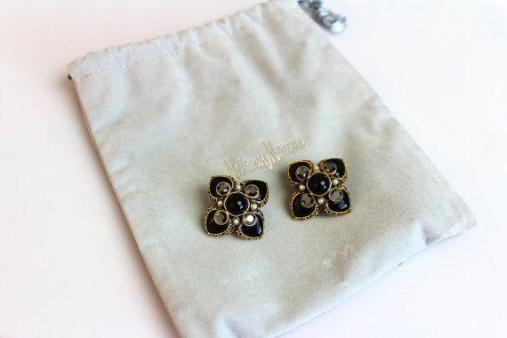Jose Maria Barrera Black  Rhinestones Cross  Earrings by Jewelrin