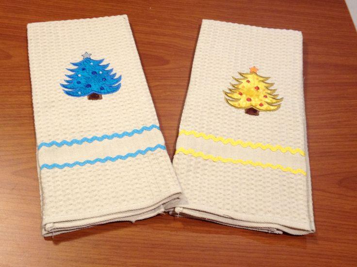 Appliqued Christmas tea towels