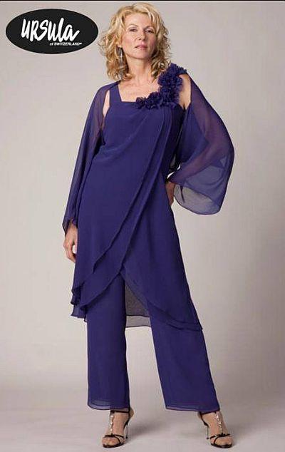 Ursula Plus Size Draped Chiffon Pant Set 41216 image