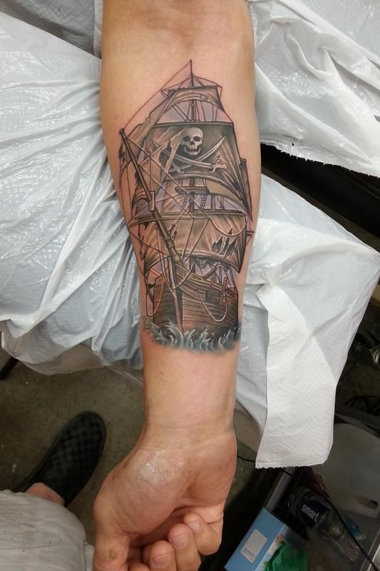 Nate Beavers - pirate ship tattoo