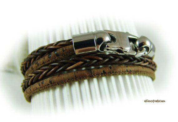 Wickelarmband Leder Kork Männer braun antik von elfenstuebchen, €29.90 / wrap bracelet cork and leahther / stainless steel