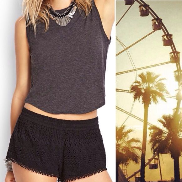 Forever 21 Black Crochet Shorts Adorable vintage-inspired black crocheted shorts.  Beautifully constructed.  Ready for a day on the beach, warm evening out, or a sunny casual afternoon. Forever 21 Shorts