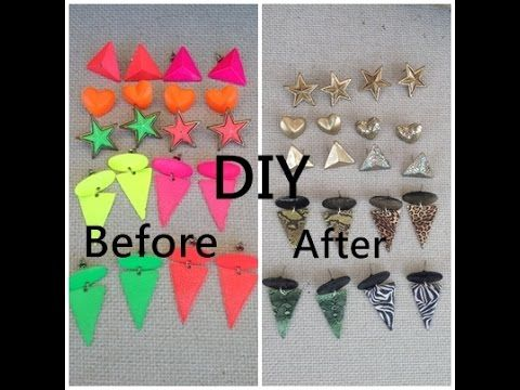 Neon earrings refashion, diy tutorial, upcycle - YouTube