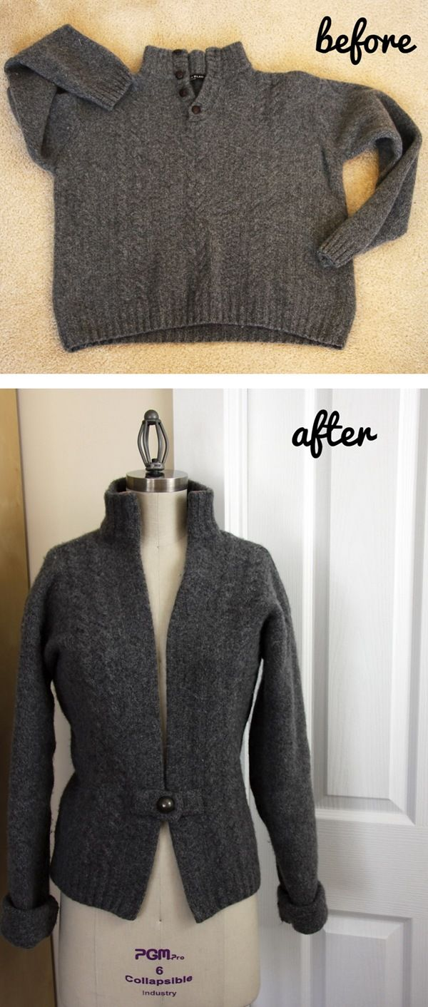 Wow, this is cool.....Before Husband's Sweater... After Wife's Sweater ... Tutorial