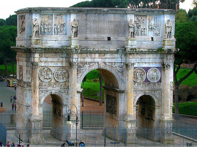 Situated next to the Colosseum, the Arch of Constantine was erected in 315 AD to commemorate Emperor Constantine I's victory over Emperor Maxentius. The battle marked the beginning of Constantine's conversion to Christianity.