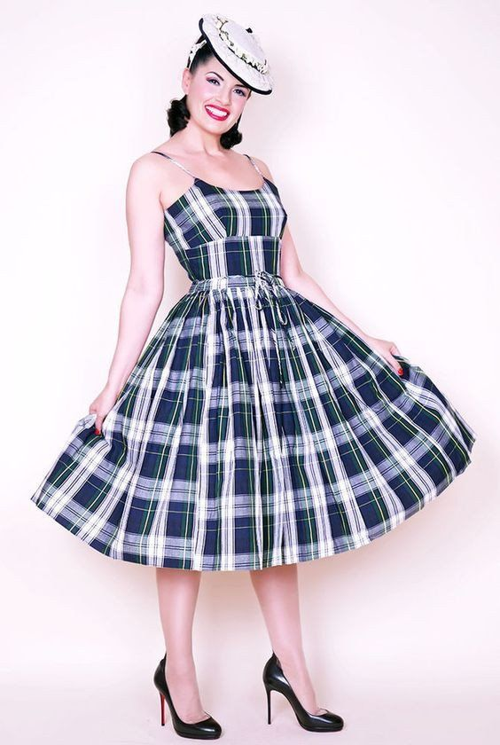Chelsea Dress in Plaid #1950s-pin-up #50s-dresses #50s-pin-up #bernie-dexter #pin-up-dress #pin-up-dresses #pinup #pinup-dress #rockabilly #rockabilly-pin-up #vintage-clothing #vintage-dress #vintage-inspired-clothing #wholesale