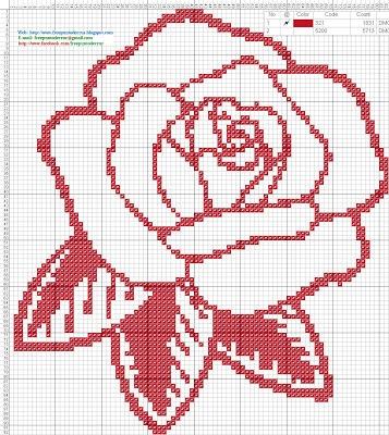 Rosa roja - Patron punto de cruz  82 x 92 puntos  1 color DMC