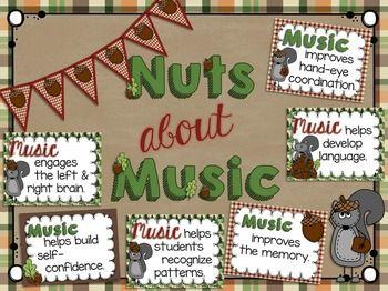 NUTS ABOUT MUSIC: BENEFITS OF MUSIC BULLETIN BOARD SET - TeachersPayTeachers.com