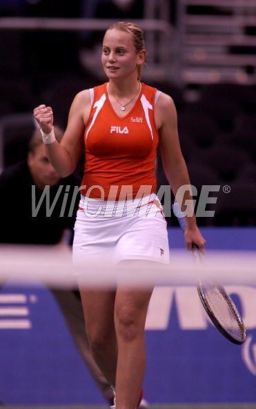 Jelena Dokic of Yugoslavia celebrates...