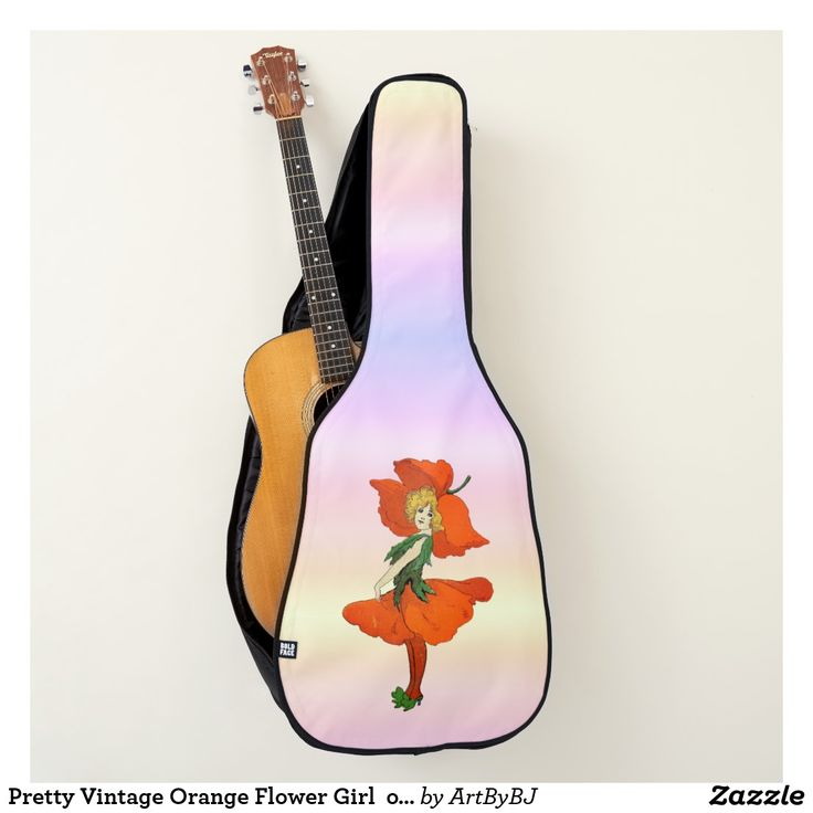 Pretty Vintage Orange Flower Girl  on Acoustic Guitar Case  - A Wonderful Christmas Present or Birthday Gift for ANY Guitar Player - order it as an Electric Guitar Case or an Acoustic Guitar Case. . . .   2 pockets, Handle and Back-Pack Style Straps as well, . . .   AND SWAP-ABLE  Front Designs. -  Visit to see all the details and LOTS MORE!