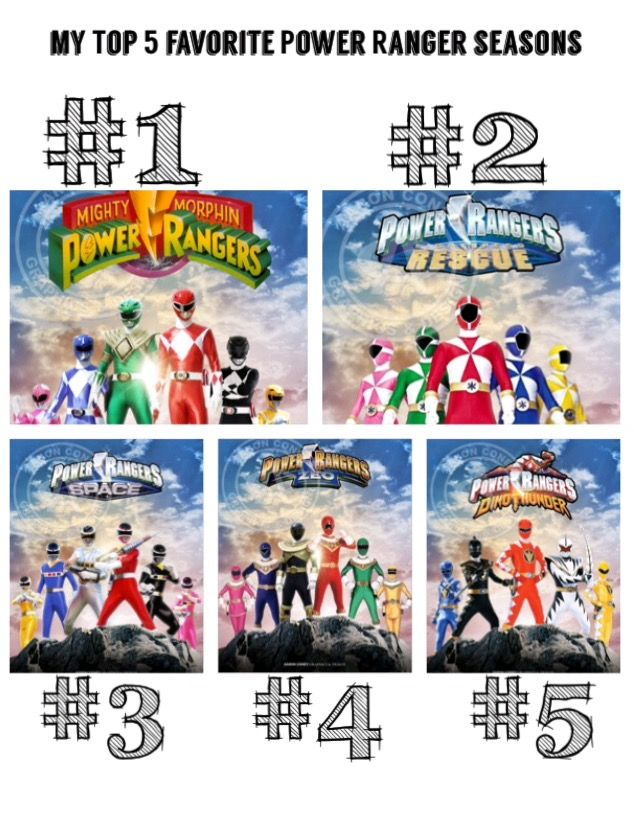My Top 5 Favorite Power Ranger Seasons: [1]. Mighty Morphin Power Rangers (Seasons 1-3) [2]. Power Rangers Lightspeed Rescue [3]. Power Rangers In Space [4] Power Rangers Zeo [5] Power Rangers Dino Thunder #SonGokuKakarot