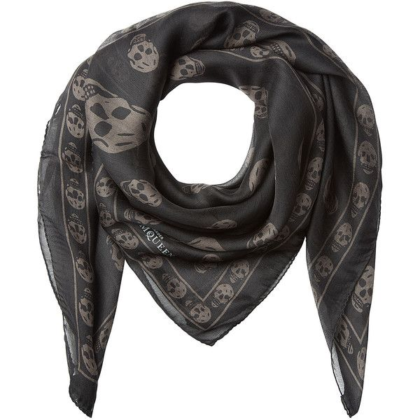 Alexander McQueen Skull Printed Silk Scarf (1.815 NOK) ❤ liked on Polyvore featuring men's fashion, men's accessories, men's scarves, grey, mens skull scarves and mens silk scarves